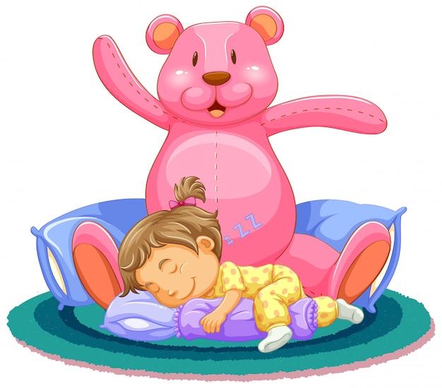 Scène Avec Petite Fille Dormant Avec Ours En Peluche Rose Vecteur gratuit