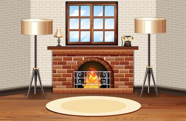 Scène de la pièce avec cheminée et lampes Vecteur gratuit