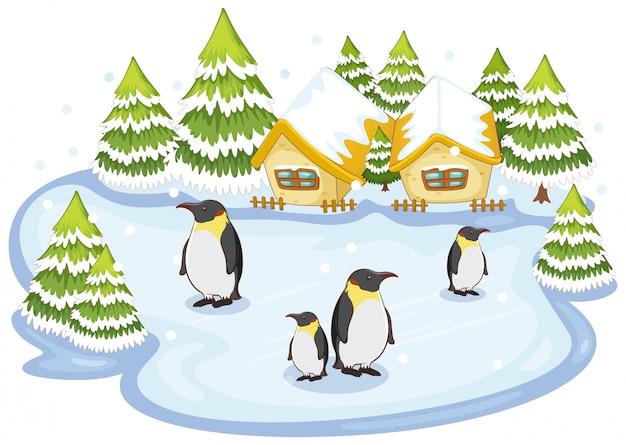 Scène Avec Des Pingouins Sur La Neige Vecteur gratuit