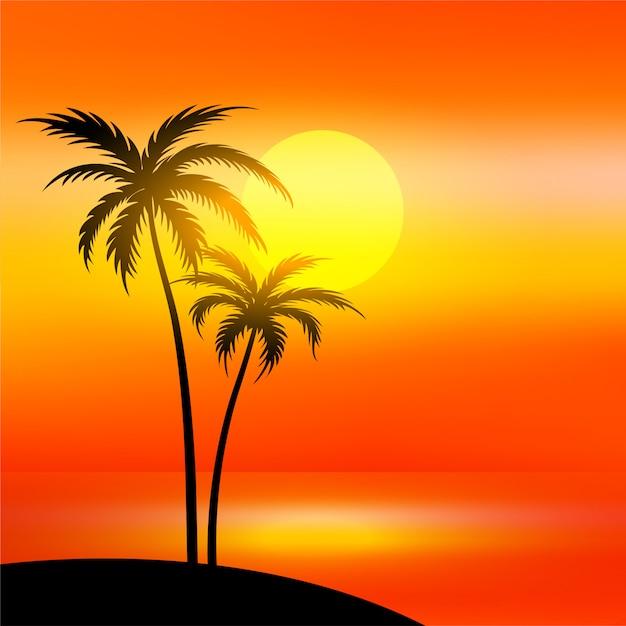 Scène de plage avec coucher de soleil et palmier Vecteur gratuit