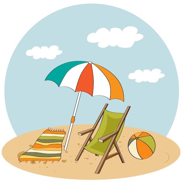 Scène de plage illustration de vacances d'été Vecteur Premium
