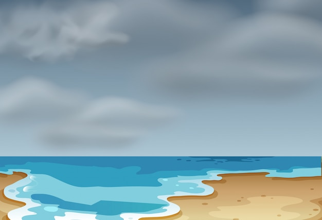 Une scène de plage nuageuse Vecteur gratuit