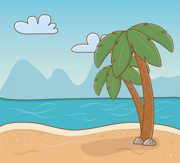 Scène de la plage des palmiers Vecteur Premium