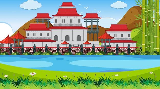 Une Scène En Plein Air Avec Un Château Asiatique Vecteur Premium