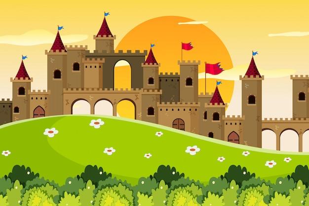 Une scène en plein air avec château Vecteur Premium