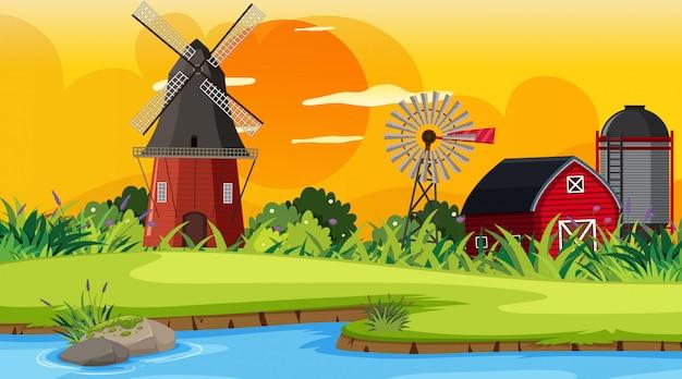 Une scène en plein air avec une ferme Vecteur Premium
