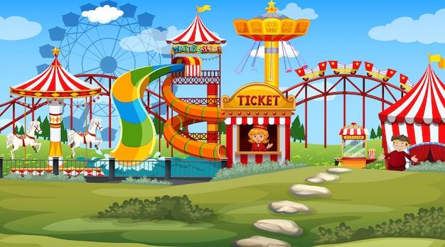 Scène en plein air avec parc d'attractions Vecteur gratuit