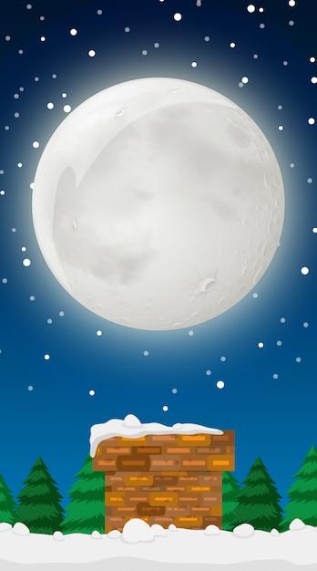 Scène avec la pleine lune en hiver Vecteur gratuit