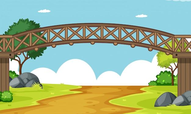 Une scène de pont en bois Vecteur gratuit