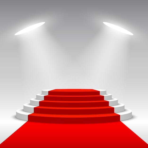 Scène Pour La Cérémonie De Remise Des Prix. Podium Blanc Avec Tapis Rouge. Piédestal. Scène Ronde. Illustration. Vecteur Premium