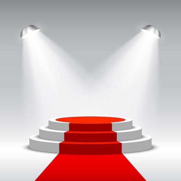 Scène Pour La Cérémonie De Remise Des Prix Avec Des Projecteurs. Podium Blanc Avec Tapis Rouge. Piédestal. Scène. Illustration. Vecteur Premium