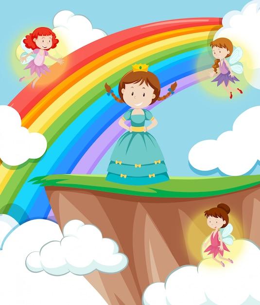 Scène princesse avec fées Vecteur gratuit
