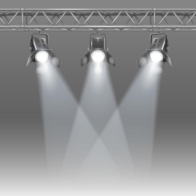Scène avec des projecteurs Vecteur gratuit