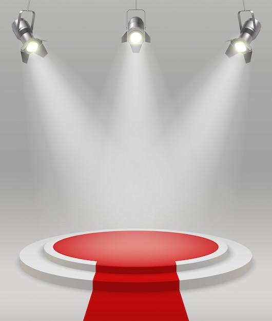 Scène Réaliste Avec Tapis Rouge De Projecteurs Au Milieu De L'illustration Vectorielle De Pièce Vecteur gratuit