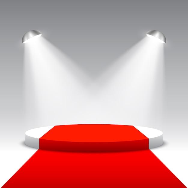 Scène De Remise Des Prix Avec Projecteurs. Podium Rond Blanc Avec Tapis Rouge. Piédestal. Scène. Illustration. Vecteur Premium