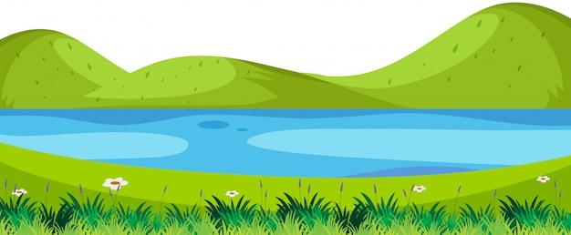 Scène de rivière nature au premier plan Vecteur Premium