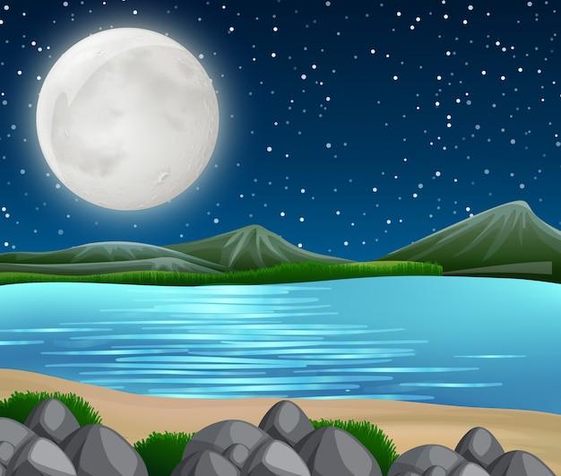 Scène de la rivière la nuit Vecteur Premium