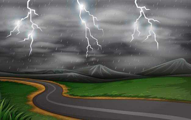 Une scène de route d'orage Vecteur Premium