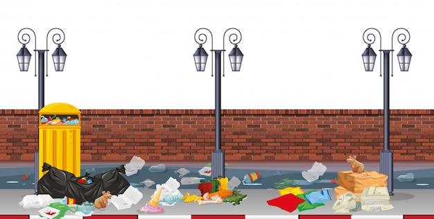 Scène de rue avec des ordures Vecteur gratuit