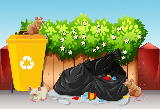 Scène avec des sacs poubelles et des rats Vecteur gratuit