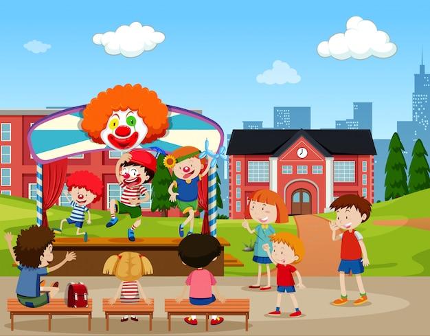 Scène de scène de clown Vecteur Premium