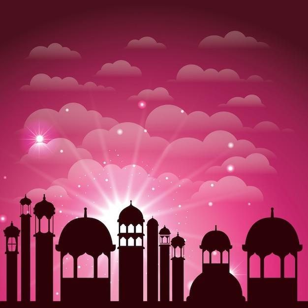 Scène de silhouette de paysage urbain ramadan karim Vecteur Premium