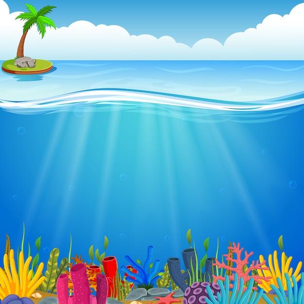 Scène sous-marine avec corail tropical Vecteur Premium