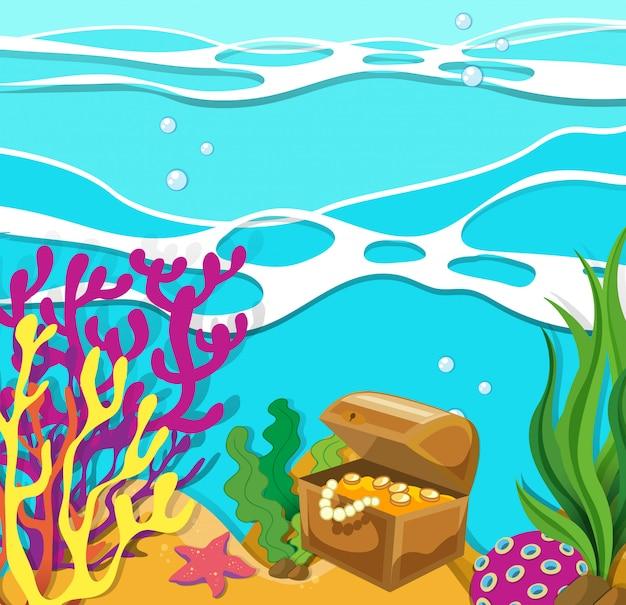 Scène sous l'océan avec coffre assuré Vecteur gratuit