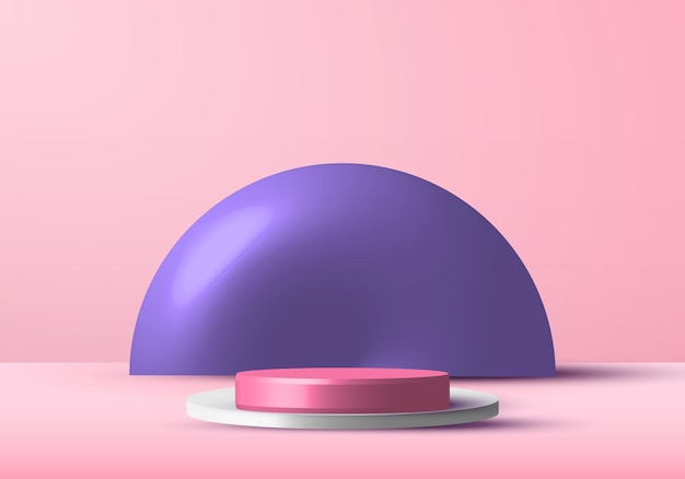 Scène De Studio De Podium Rendu Rose Et Blanc Réaliste Pour Vitrine D'affichage Avec Fond De Cercle Violet. Vecteur Premium