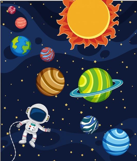 Une scène de système solaire Vecteur Premium