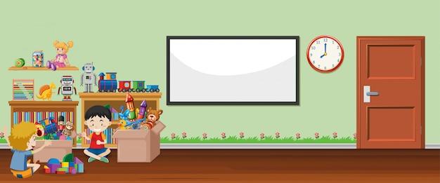 Scène Avec Tableau Blanc Et Jouets Vecteur gratuit