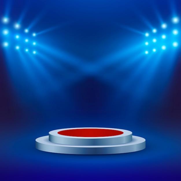 Scène Avec Tapis Rouge Et Projecteurs Sur Fond Bleu. Arène Ou Scène De Concert. Podium Vide. Vecteur Premium