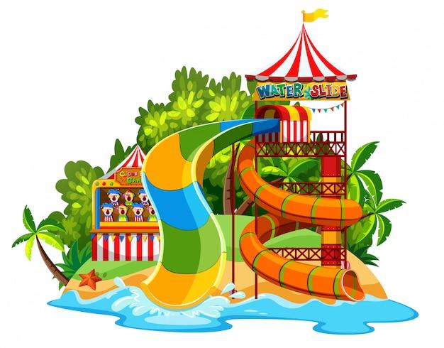 Scène Avec Toboggan Dans Le Parc Aquatique Sur Fond Blanc Vecteur gratuit