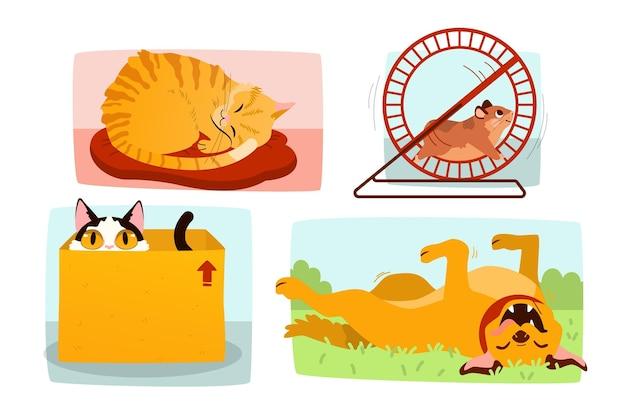 Scène De Tous Les Jours Avec Des Animaux Domestiques Vecteur gratuit