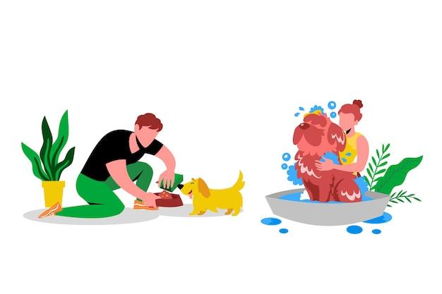 Scène De Tous Les Jours Avec Le Concept D'animaux De Compagnie Vecteur gratuit