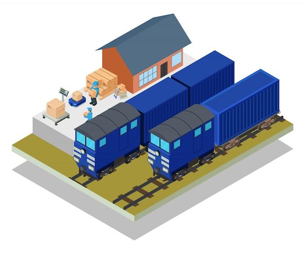 Scène De Train Postal Vecteur Premium