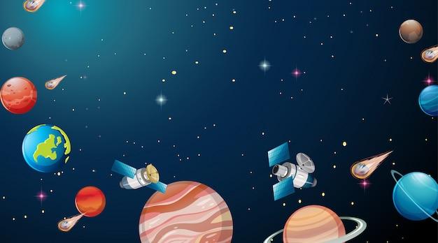 Scène de l'univers du système solaire Vecteur gratuit