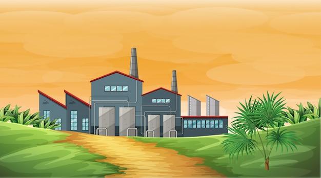 Scène D'usine Avec Des Cheminées De Fumée Et Des Tours De Refroidissement Vecteur gratuit