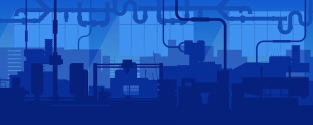 Scène d'usine industrielle de fabrication de ligne d'usine. Vecteur Premium