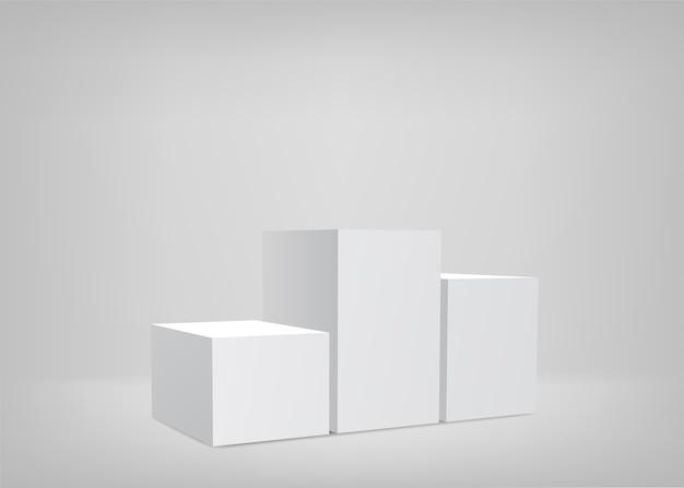 Scène Vide. Fond Blanc. Podium Pour La Présentation. Vecteur Premium