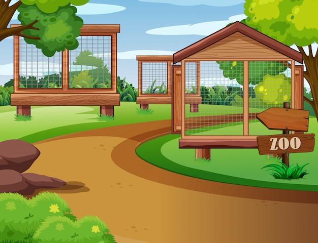 Scène De Zoo Avec Cages Vides Vecteur gratuit