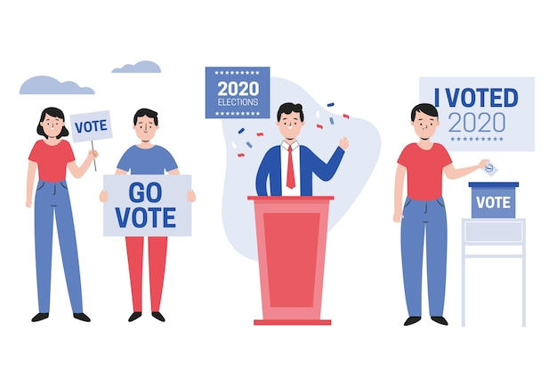 Scènes De Campagne électorale Vecteur Premium