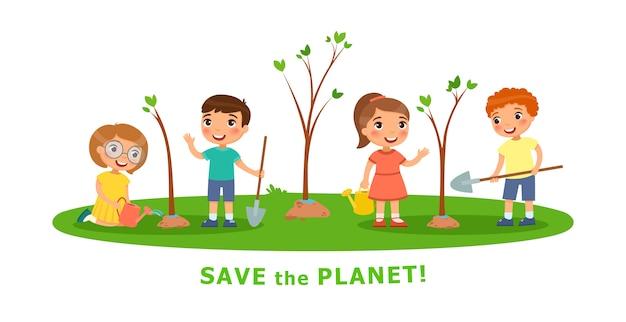 Scènes de dessin animé de vecteur sur des questions environnementales Vecteur Premium