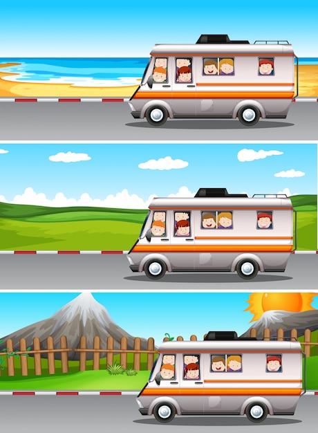 Scènes avec des enfants montés sur un camping-car Vecteur Premium