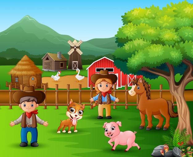 Scènes de ferme avec différents animaux Vecteur Premium