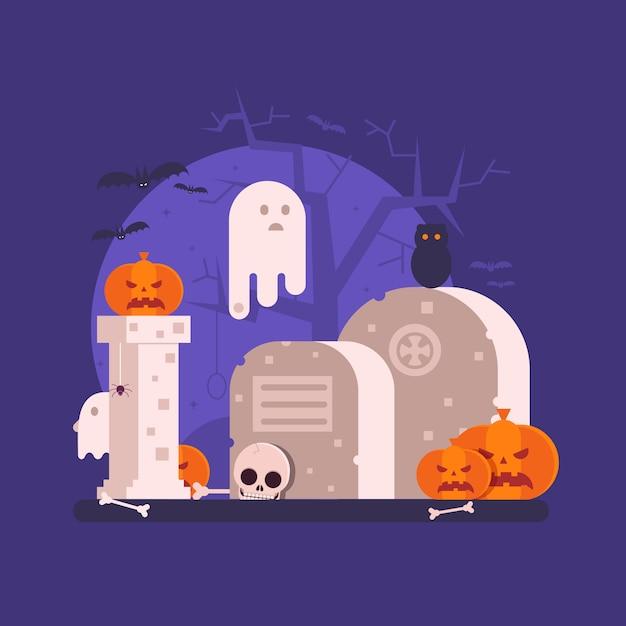 Scènes D'halloween Avec Fantôme Vecteur Premium