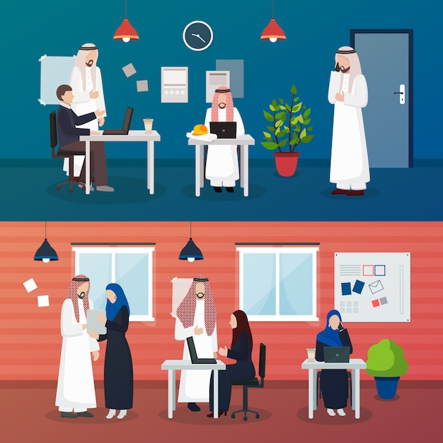 Scènes d'hommes d'affaires arabes Vecteur gratuit