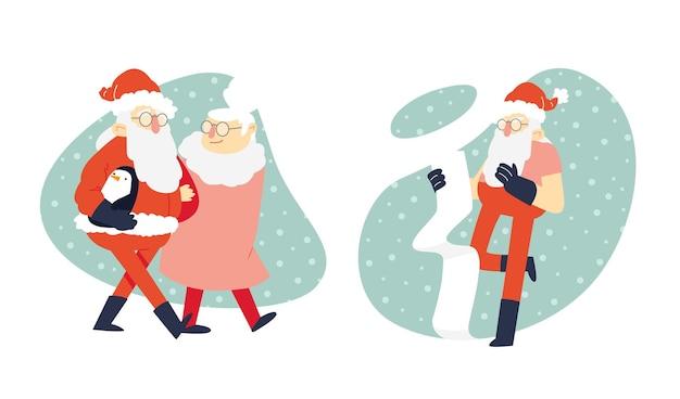 Scènes D'illustration Cool Santa Vecteur Premium