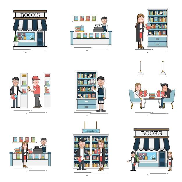 Scènes de librairie Vecteur gratuit