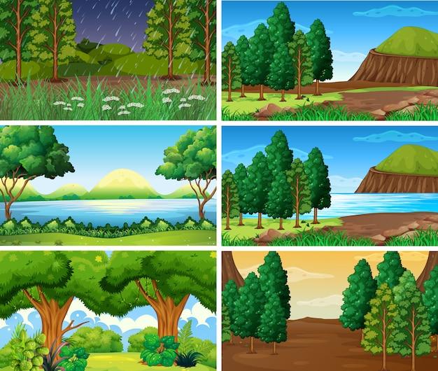 Scènes de nature de paysage vide, vide Vecteur gratuit